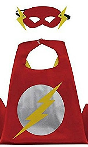 Girl Flash Costumes (Honey Badger Brands Dress Up Comics Cartoon Superhero Costume with Satin Cape and Matching Felt Mask, Flash)