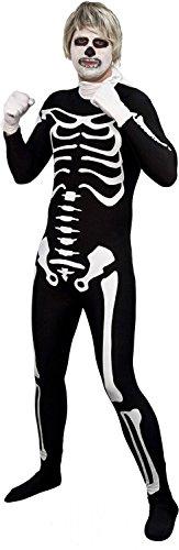 Men's Karate Kid Spandex Skeleton Bodysuit Costume Black & White (Karate Kid Skeleton Suit)