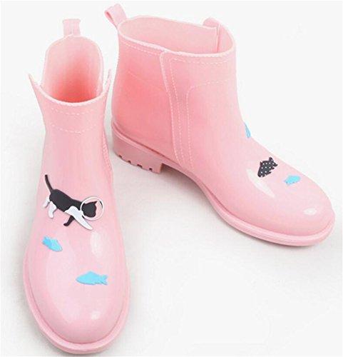 Dames Antislip Korte Enkel Hoge Rubberen Schoenen Regenlaarzen Roze