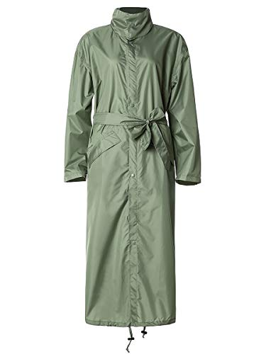 SaphiRose Women Rain Jacket Hooded Coat with Belt Outdoors-Green ()