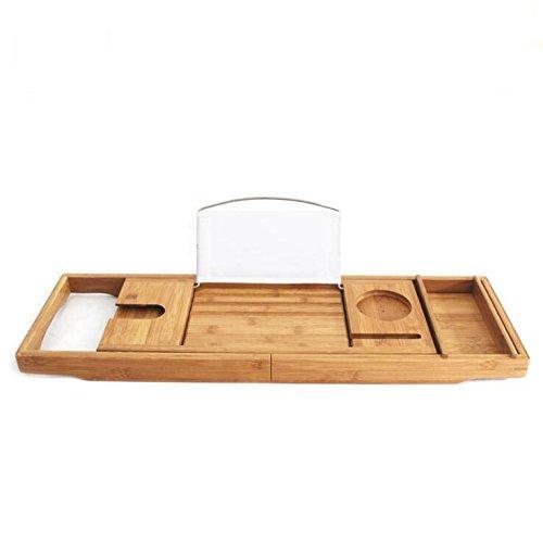 GHGJU Bamboo bathtub frame Adjustable shelf Bathroom storage box Bamboo wine holder Mobile phone Bath shelf (Color : C) by GHGJU