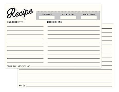 Recipe Cards 4x6 (100-Pack) & 10 Dividers - Premium Quality Recipe Cards Set