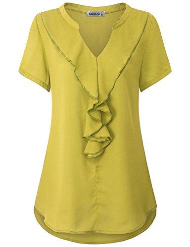 MOQIVGI Flouncing Blouse, Ladies Notch Collar Short Sleeve Trendy Semi Formal Satin Ruffle Shirts Gauze Soft Lightweight Figure Flattering Chiffon Tops Boutique Clothing For Women Yellow (Yellow Gauze)