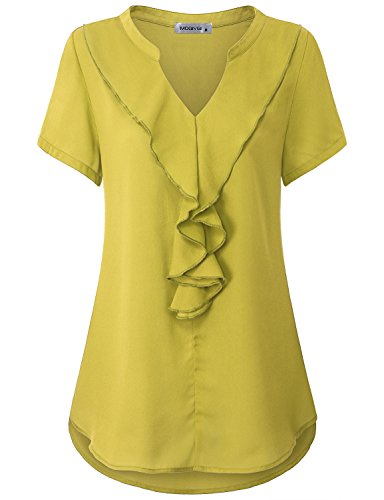 MOQIVGI Office Tops For Women, Lady Stylish Elegant Graceful Formal Blouses Short Sleeve Notch Neck Pure Color Plain Silk Cozy Slim Fit Flowy Chiffon Shirts Summer Work Clothes Yellow X-Large