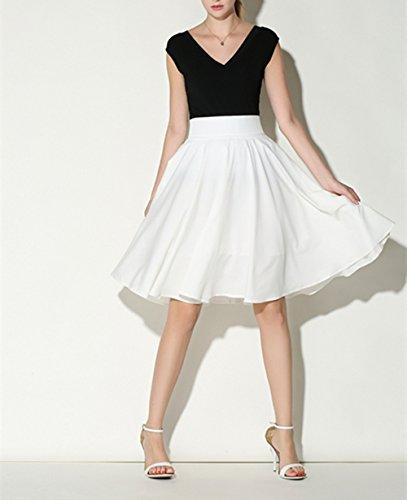 Hippolo Femme Taille haute stretch solide Couleur Jupe M noir blanc