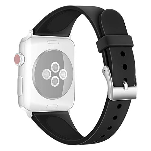 (AutumnFall Silicagel Soft Band Strap Replacement Wrist Band Small Band (200mm) for Apple for iwatch 40mm (Black))