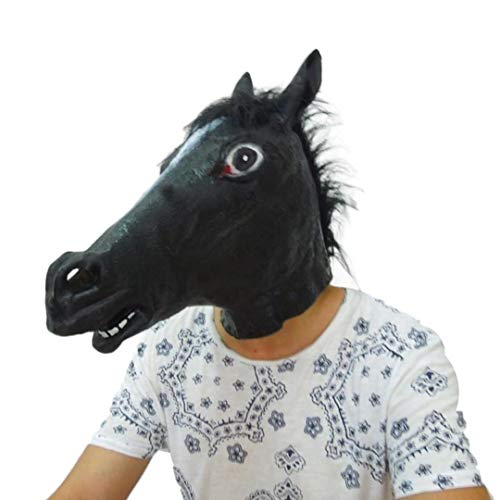 ANBOO Halloween Mask,Halloween Party Horse Latex Mask Cosplay Costume Party Latex Prop Animal Masks (Black) -