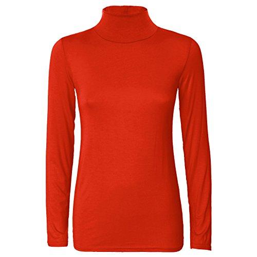 Top Crop T Rouille manches et col Shirt roul longues Femme USq1vY6