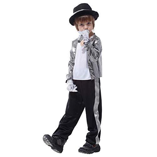 Kids Boys Michael Jackson Cosplay Costume Children's Day Halloween New Year Masquerade Billie Jean Superstar Stage Costumes White