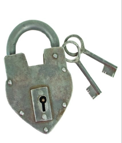 Antique Reproduction Heart Padlock with 2 Skeleton Keys INsideOUT by Upper Deck by INsideOUT
