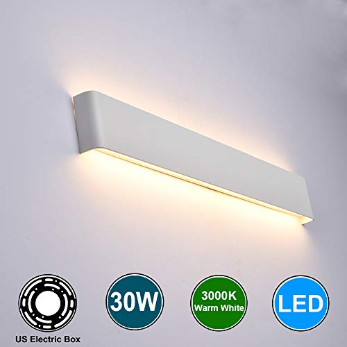 Aipsun 30W/32.6in Rectangular LED Wall Mount Sconce Modern Matte Up and Down Wall Lamp Indoor Vanity Light Pathway Staircase Bedroom Corridor Living Room Home Lighting Fixtures (White,Warm White) (Wall Lamp Contemporary)