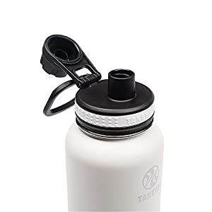 Takeya Originals Insulated Stainless Steel Water Bottle, 32 oz, White