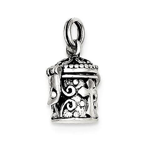 Roy Rose Jewelry Sterling Silver Antiqued Cross Prayer Box Charm - Cross Prayer Box Charm