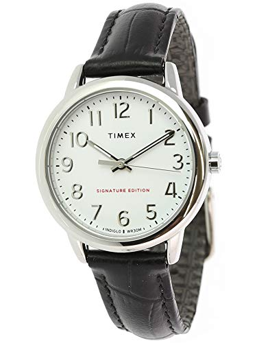 Timex Women's Easy Reader TW2R65300 Silver Crocodile Leather Quartz Dress Watch