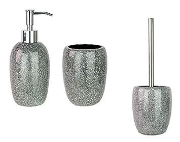Silber Glitzer Badezimmer 3 Teiliges Zubehör Set