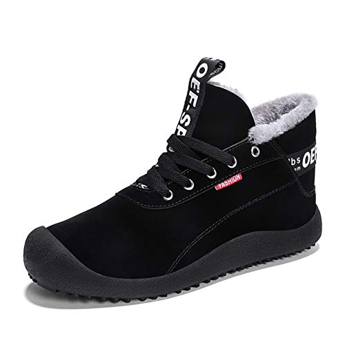 YQSL Mens Snow Boots Warm Winter Boots Fully Fur Lined Outdoor Shoes Slip on Winter Snow Shoes Black US Size 9.5 ()