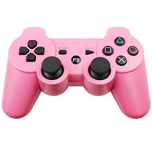PS3 Controller Wireless Bluetooth Six Axis Dualshock Game Controller for Sony PlayStation 3 PS3 (Pink)