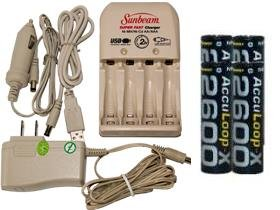 Battery Charger 3Hr For Aa/Aaa & 12V Car Plug & 4 Aa 2600 Mah Acculoop-X Batteries (Low Discharge)