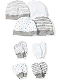 Baby Set of 4 Organic Cap and Mitten Sets