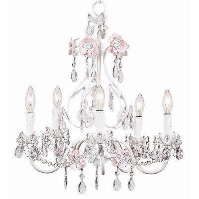Jubilee Collection 7426 5 Arm Flower Garden Chandelier, Pink/White Arm White Flower Crystal Chandelier