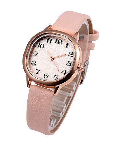 Top Plaza Womens Girls Fashion Pink Leather Analog Quartz Wrist Watch Simple Small Dial Rose Gold Case Arabic Numerals Casual Dress Watches ()