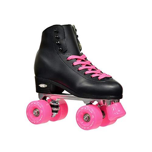 Epic Skates Classic High-Top Quad Roller Skates, Black/Pink, Size 9
