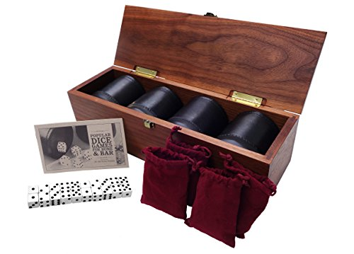 Golden Gate Dice Cup Set of Four in Walnut Presentation Case Includes Twenty White Dice and a Book of Dice Games (Includes Liar's Dice) ()