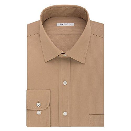 Van Heusen Big & Tall Regular Fit Flex Collar Pincord Wrinkle Free Dress Shirt (Neck 17 Sleeve 37/38, Ginger) (Free Van Wrinkle Shirt Dress Heusen)