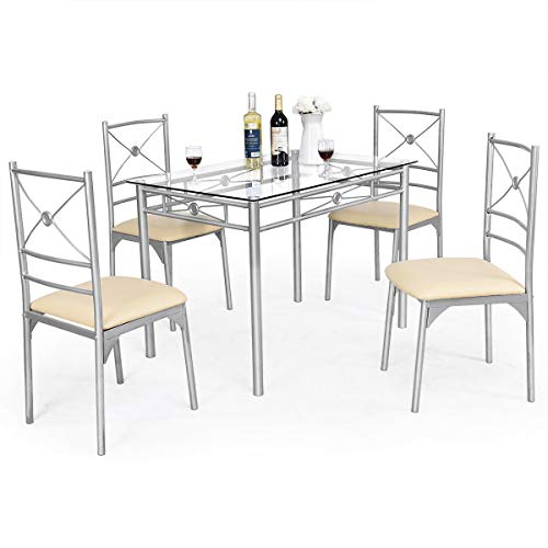 Tangkula Dining Table Set 5 Piece Home Kitchen Dining Room Tempered Glass Top Table and Chairs Breaksfast Furniture (Silver 001)