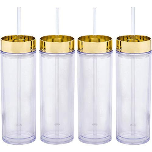 4 Pack - Top House Insulated Acrylic Tumblers with Gold Lids and Straws, 16oz Insulated Travel Cups, 8 Reusable Straws (Gold Lids)]()