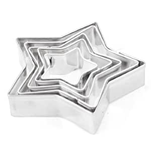 uxcell Stainless Steel Aluminum Alloy Star Cookie Cutter Cake Mould 5 Pcs