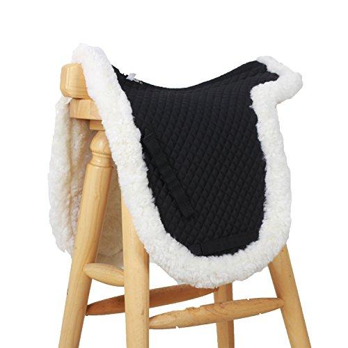 (VAST Merino Sheepskin Dressage Numnah Saddle Pad with Rolled Edge Black Dnf-x/wt-bk …)