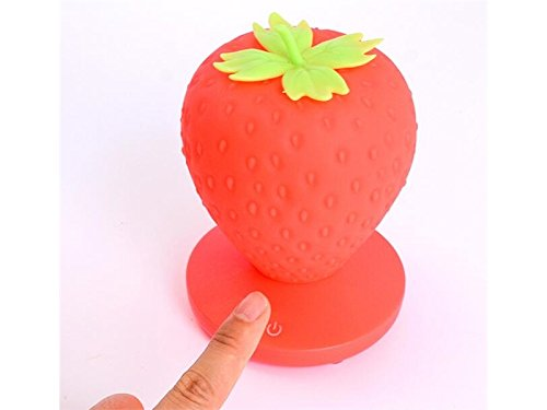 - 3D Illusion Lamp, Silcone Lamp Strawberry Lamp Touch Dimmable LED 3 Level Lamp USB Rechargeable for Children Bedroom