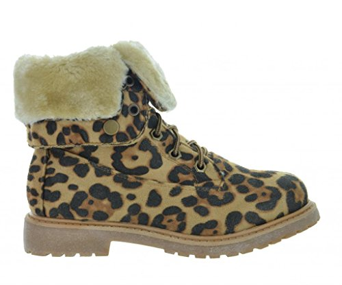 Dream Pair KIMBER Womens Winter Fur Lined Collar - Leopard Boots With Fur