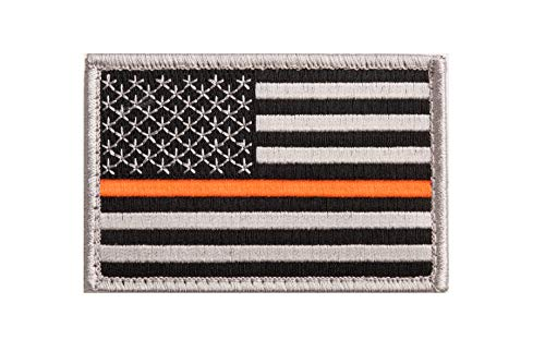 Thin Orange Line US Flag Embroidery Patch for Search and Rescue with Hook/Loop Backing