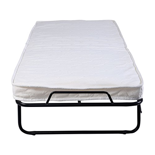 GHP 440Lbs Capacity Steel Frame Wood Slat Folding Foam Mattress Bed with Casters by Globe House Products (Image #1)