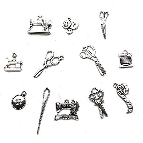 (JETEHO 60 Pcs Metal Alloy Tibetan Sewing Knitting Charms Pendants Bulk Sewing Machine Scissors Pendants for Bracelet Jewelry Making)