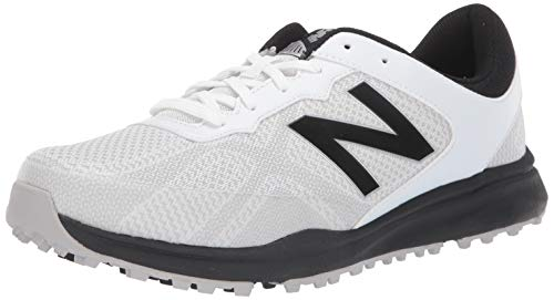 New Balance Men's Breeze Breathable Spikeless Comfort Golf Shoe, White/Black, 9 2E 2E -