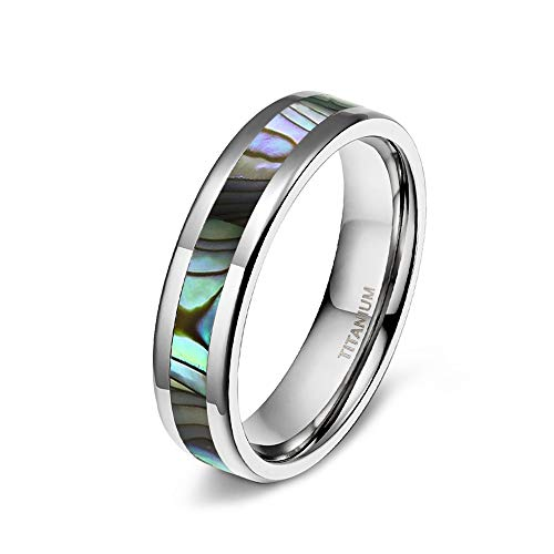 TIGRADE 6MM/8MM Titanium Wedding Band Abalone Shell Inlay Ring for Men Women Couple Size 6.5 ()