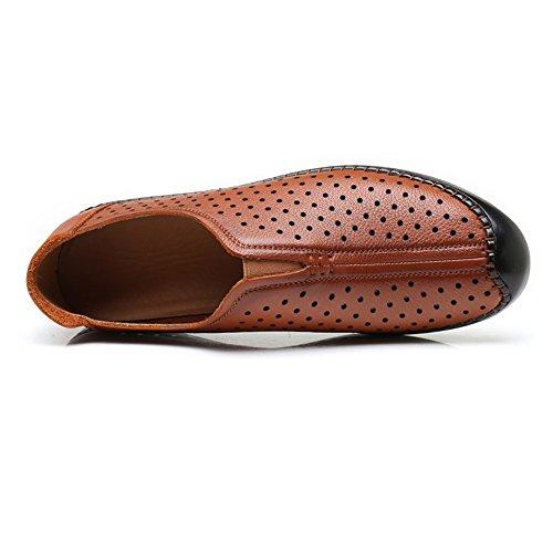 Punta Cuero Sry Plana Genuino Suela De Para Marrón Clásicos Con on shoes Perforación Mocasines Slip Transpirable Redonda Hombres n4Fw4qRpv