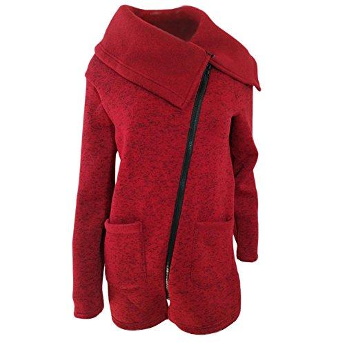 Lapel Red Sleeve Coat Qitun Long Casual Women's Tops Outerwear Zipper Jacket Sweatshirt Pockets Overcoat Irregular xwx6PAn