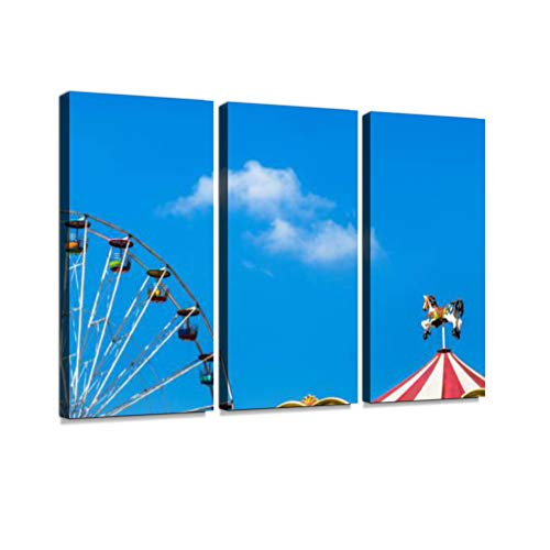 7houarts Antique Carousel Horses Tent in Amusement Park with Ferris Wheel Canvas Wall Artwork Poster Modern Home Wall Unique Pattern Wall Decoration Stretched and Framed 3 Pieces Set 3 Piece ()