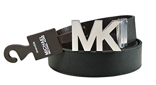 Michael Kors Reversible Black/Brown Belt with Silver MK Logo Plaque - Large