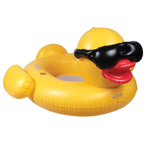GAME 51901-BB Giant Mesh Bottom Derby Duck Funny Inflatable Pool Float, Yellow