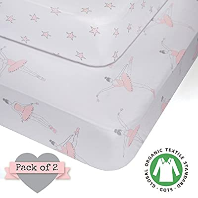 Crib Sheets - 100% ORGANIC JERSEY COTTON - Pink for Girl - 2 pack - fits standard crib and toddler mattresses 52X28X9 - Best baby shower gift - by My Little North Star