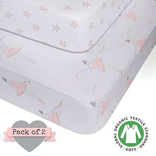 Little Princess Mini - Crib Sheets - 100% ORGANIC JERSEY COTTON - Pink for Girl - 2 pack - fits standard crib and toddler mattresses 52X28X9