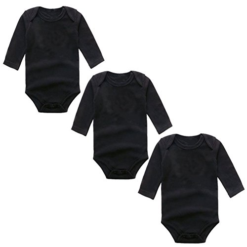 3-Pack Long Sleeve Bodysuits for Infant Girls Boys, (4-6 Months, Black)