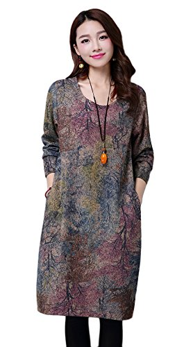 Vogue of Eden Women's Casual Thick Baggy Loose Shift Linen Dress with Pockets, Tree, M - Eden Junior Bridesmaid Dress