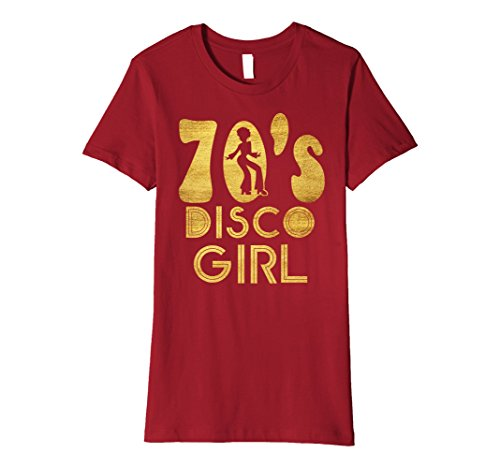 That 70s Girl Costumes (Womens 70's Disco Girl T-Shirt - Seventies Halloween Tee XL Cranberry)