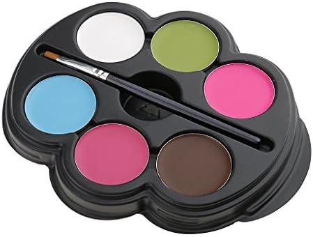 顔用絵具  ボディアート 6色パレット 化粧用品 ブラシ付 無毒 コスプレ